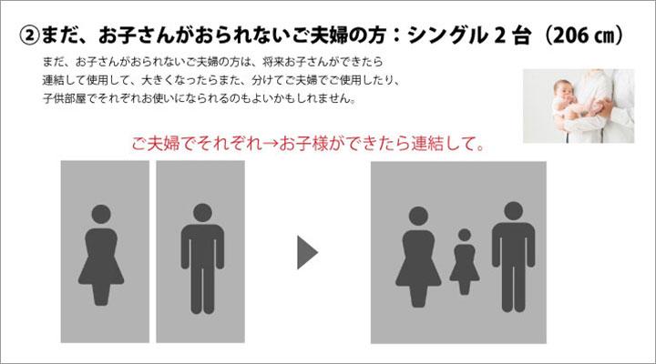 ②まだ、お子さんがおられないご夫婦の方:シングル2台(206cm)
