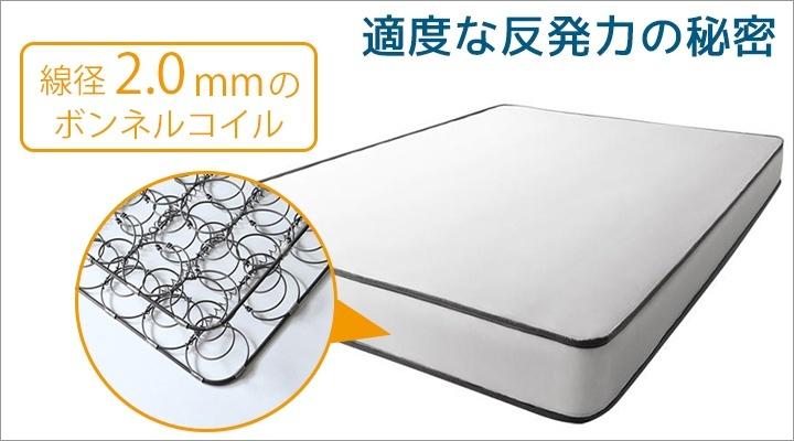線径2.0mmのボンネルコイルにすることで、適度な反発力に。