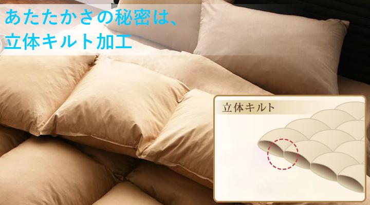 中綿のかたよりを防ぎ、縫い合わせ部分にも中綿が入り込む立体キルト加工だから、ふっくら暖かい。