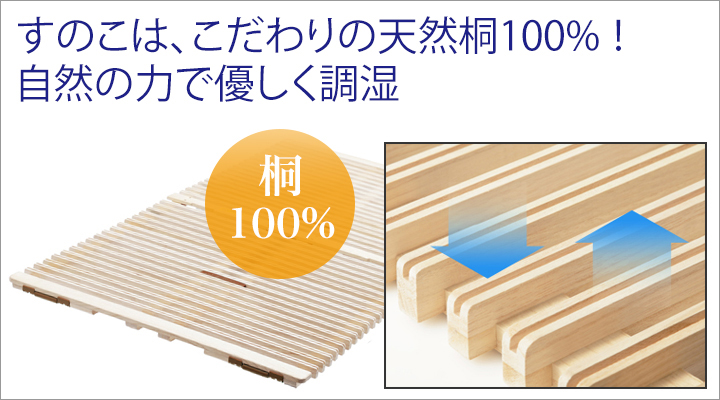 天然桐100%を使用しているから、一年中いつでも優しく調湿してくれます。