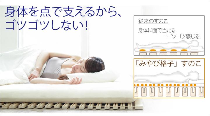 点で身体を支える構造。だから、寝ている間もゴツゴツ感なし!