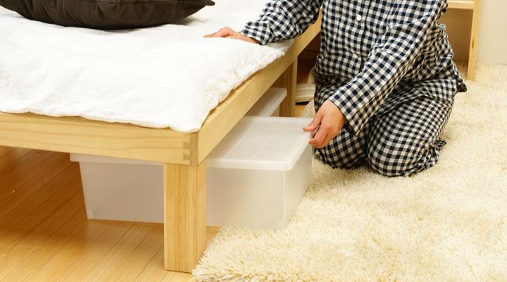 うれしいベッド下の収納スペース。
