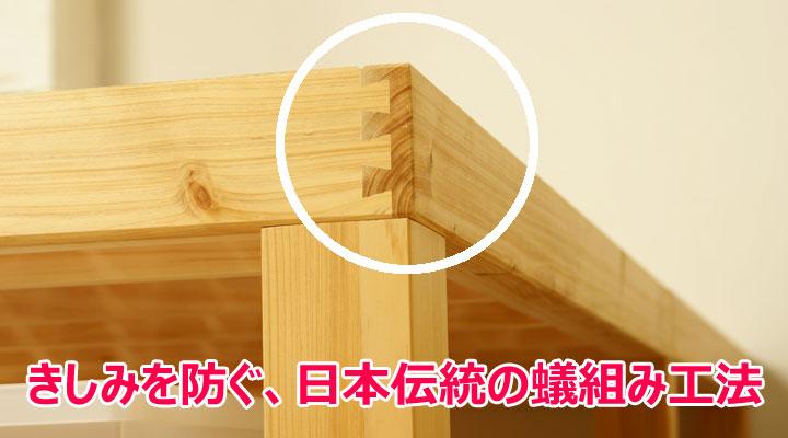 日本の伝統工法で、きしみや反りを防ぎます。