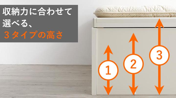 荷物の量や大きさに合わせて、高さは3タイプから選べます!