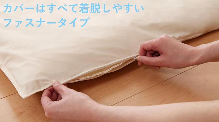 カバーは、便利で着脱しやすいファスナータイプ。