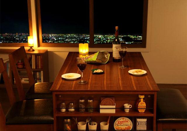 収納ラック付 北欧デザインエクステンションテーブル【Eric(エリック)】 4点セット(テーブル+チェア×2+ベンチ)