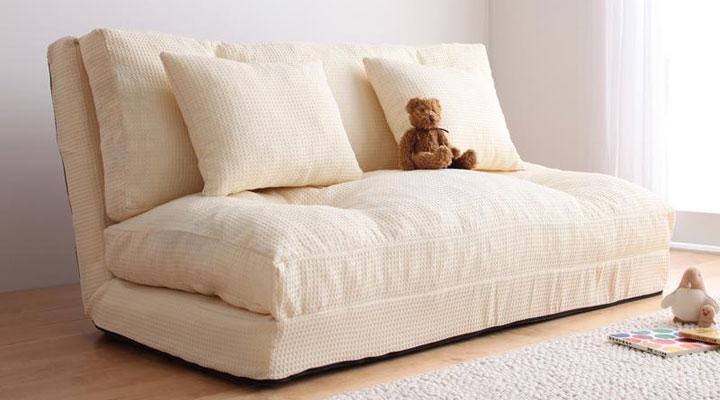 かわいいデザインのソファーベッド。