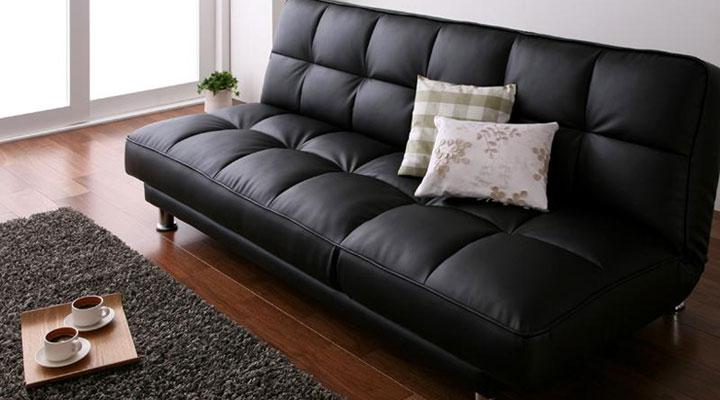キルティングデザインのソファーベッド。