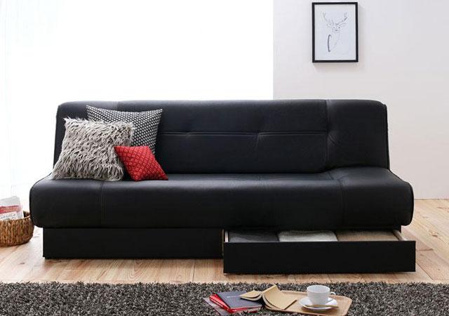 引き出し付きソファーベッド。